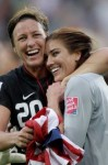 Soccer stars Abby Wambach (L) and Hope Solo of Team Lez (I mean USA)