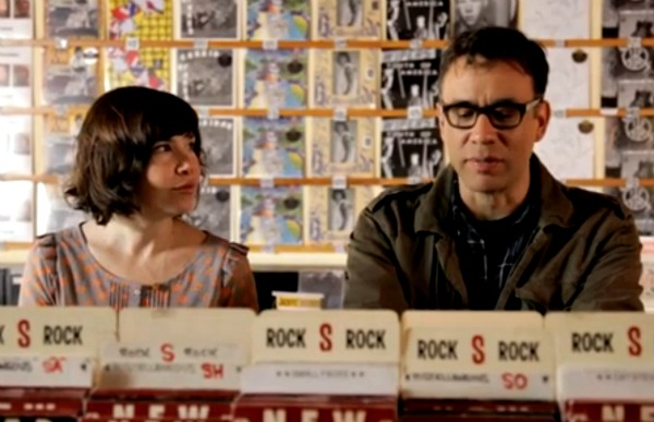 Fred and Carrie in a real record store for Portlandia's season 2 skit 'Wanna Come to my Dj Night?'
