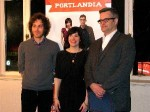 Sam Adams with 'Portlandia' director Jonathan Krisel and Carrie Brownstein at last year's season 1 premiere