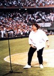 Comedian Roseanne grabs her crotch in perhaps the most famous National Anthem ballgame starter in 1990.